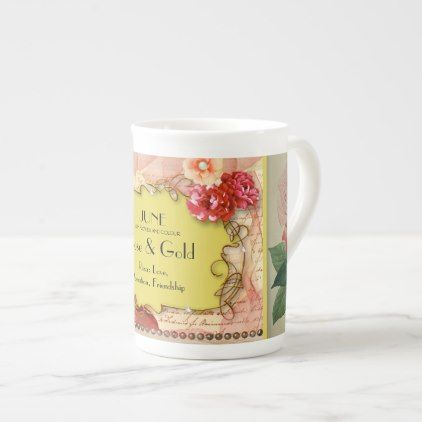 JUNE BIRTHDAY MONTH MUG  - ROSE & GOLD - rose style gifts diy customize special roses flowers