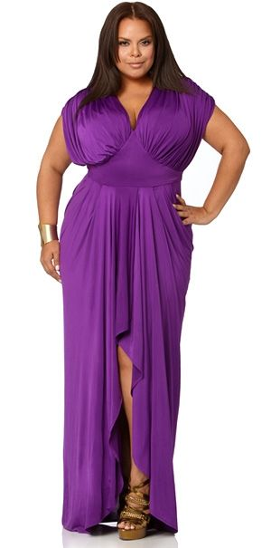 Three words: Elegant & classy. Plus, there is something very powerful about purple. reminds me of the powerful women who train with me.    Clearly, in this photo, the woman makes the clothes & not the other way around. #confidence #beauty #NewWarriorGoddess #strong http://newwarriortraining.com: Fashion, Purple, Plus Size, Gowns, Dresses, Beautiful, Draping, Monif