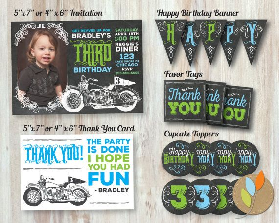 Motorcycle party  https://www.etsy.com/listing/240050861/motorcycle-birthday-party-package