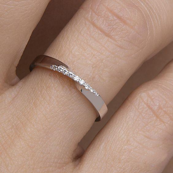 Mobius Ring, Diamond Mobius Ring, Pave Mobius Ring, Wedding Band, Black