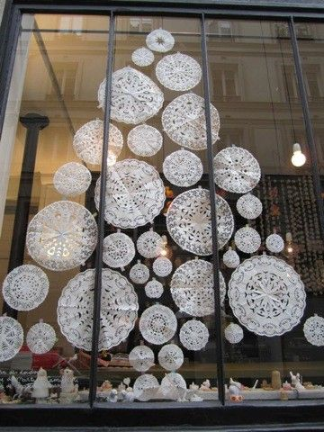 Gives me idea to make snowflakes with the girls then put them in shape of tree on window:) use coloured paper snowflakes for decorations and yellow one for star.