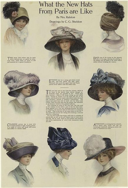 Magazine article about the latest hat styles from Paris, ca. 1908.