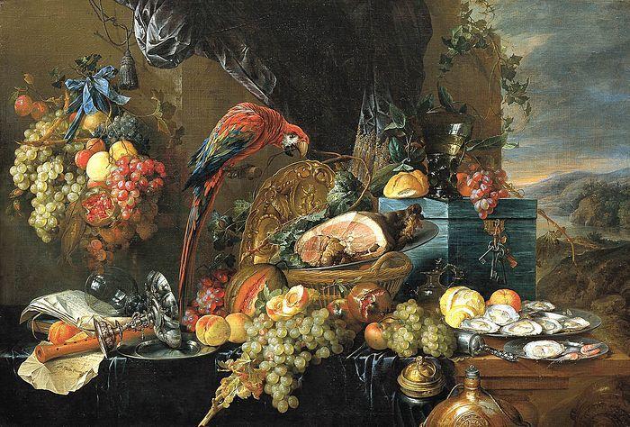 Jan Davidsz. de Heem was een zeer succesvol schilder die met de verkoop van zijn schilderijen grote welstand verwierf.  Hij speelde een belangrijke rol in de ontwikkeling van het pronkstilleven. In zulke stillevens vindt men een uitstalling van kostbaarheden, samengebracht in een compositie van een theatraal, monumentaal karakter. Goud, zilver, porselein, glas, schelpen, bloemen en vruchten, textiel en muziekinstrumenten vormen zoal de ingrediënten van deze werken.