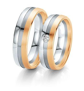 Breuning Trouwringen | black&white gouden ringen wit- zwart en roze goud| 6mm briljant 0.06ct verkrijgbaar in 8,14 en 18 karaat | 48061150 / 48061160 #trouwringen #breuningtrouwringen #breuning