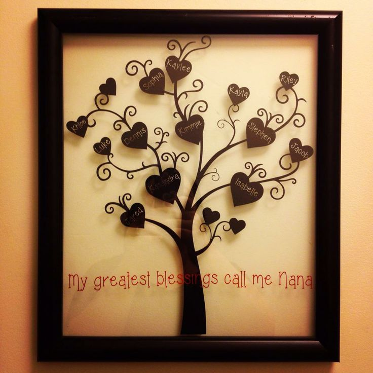 """Family Tree Mother's Day gift idea silhouette WANT!! There's even a """"Kaylee"""" on this tree already. So cute!"""