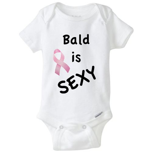 Bald Is Sexy Breast Cancer Onesie  Support dad and male pattern baldness - babies don't care how many hairs are on your head!     Cute and funny novelty baby onsie