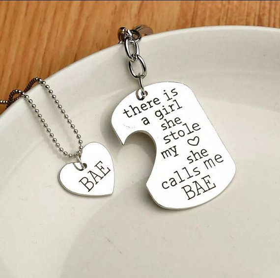 """Couples """"Bae"""" Dogtag His and Her Keychain OR Necklace"""
