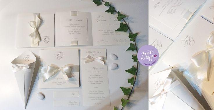 Classico ed elegante il coordinato di #nozze interamente #hamdmade #weddinginvitation #partecipazionematrimonio #wedding #invitinozze