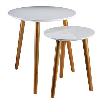 Tables - Briscoes - Table Nesting Round Set Of 2 Small 41 x 41 x 40 Large 61 x 61 x 48