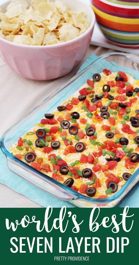 The Best Seven Layer Bean Dip Recipe Pretty Providence Recipe Layered Bean Dip Recipe Bean Dip Recipes Layered Dip Recipes