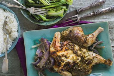 Thai roast chicken with rice and Asian greens