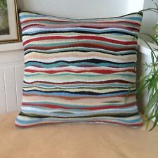 "Handmade Tapestry Multicoloured Wavy Stripe Throw/Pillow Cushion Cover 17""x16"""