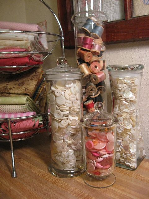 Jars with vintage buttons & thread
