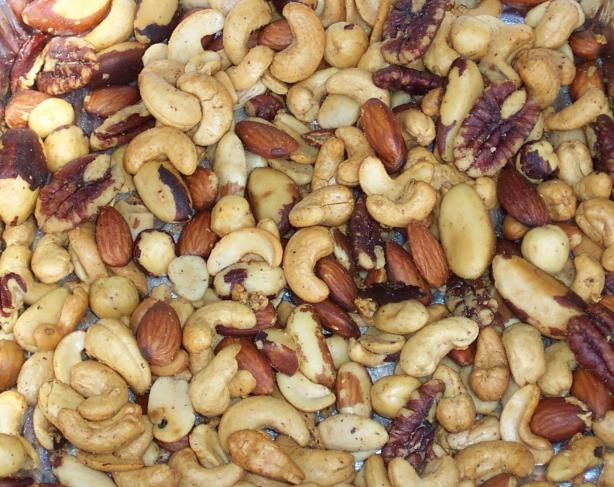 These are beyond good and easy to throw on the smoker. Smoked Garlic Nuts from Food.com: