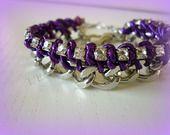 Bracelet Chaine Maillon Gourmette Strass Violet : Bracelet par l-ecrin-a-fantaisies-de-didyne