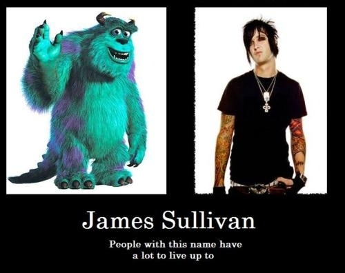 Jimmy avenged sevenfold a7x-- I have kids so this is totally funny. Sulley is my fave monster.