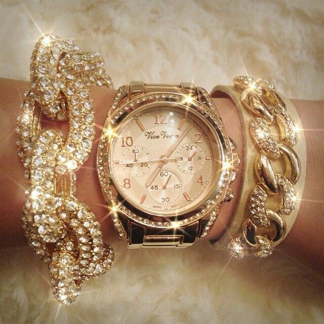 Gold bracelet and watch with diamonds