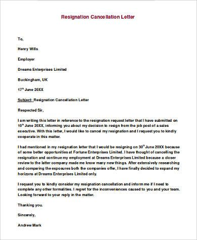 example of letter of resignation