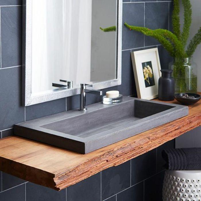 cool Idée décoration Salle de bain - evier salle de bain, comptoir en bois brut et evier granit noir...