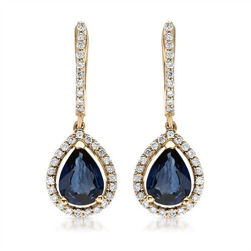 Disse ørehængere i 14 karats guld med diamanter og dråbeformet safirer fra Bartoli