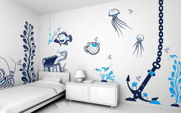 Kids Bedroom with Underwater Parks Wall Mural and White Bedside Table and White Table Lamp and White Mattress