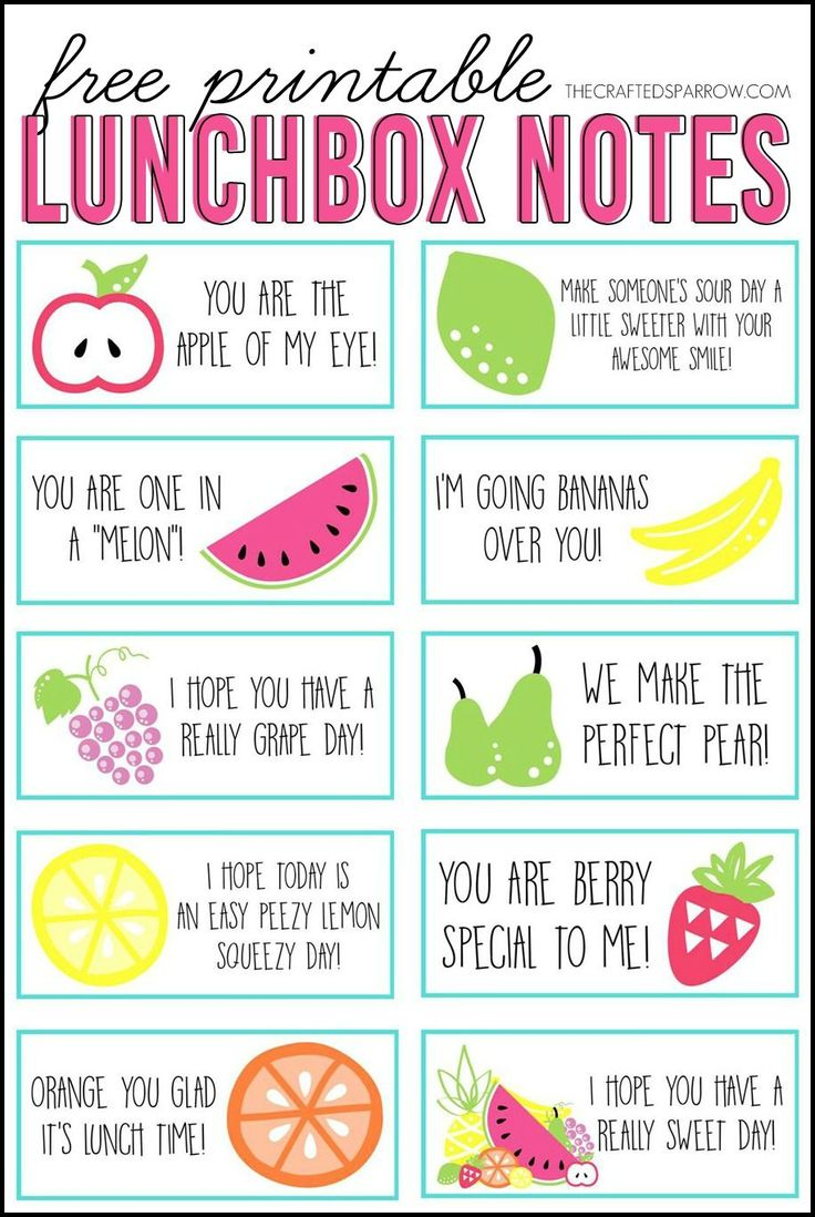 Free Printable Lunchbox Notes - adorable cards to encourage your kids every day of the week! A great idea for kid's lunch boxes.