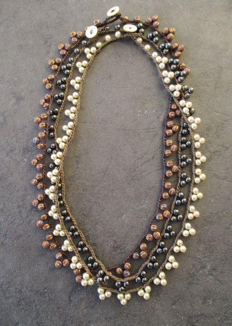 Dainty Crochet pennant necklace TriBeca / the by slashKnots