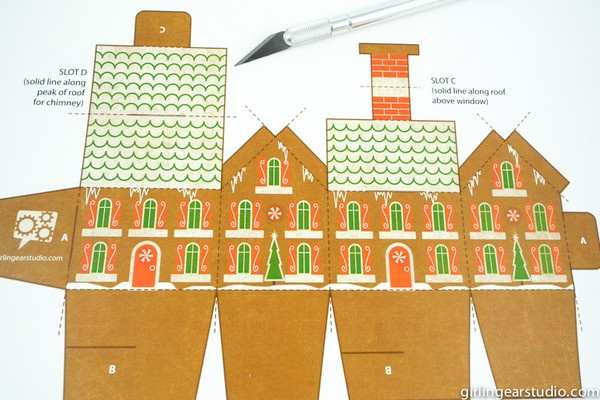 free gingerbread house favor box template holiday party. Black Bedroom Furniture Sets. Home Design Ideas