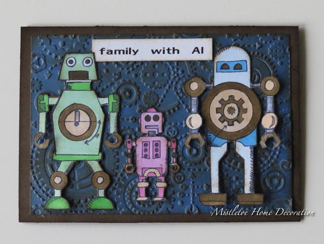 11 best tim holtz robots blueprint images on pinterest greeting card with robot family robot blueprints by tim holtz family with malvernweather Choice Image