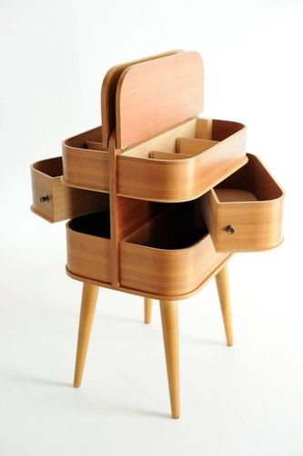 60s Danish modern side table / sewing storage