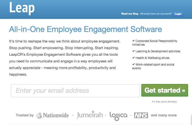 https://LeapCR.com is all-in-one Employee Engagement Software for boosting employee engagement within companies. LeapCR provides the tools to mobilise, manage and measure corporate responsibility activity and company culture.  Netguru has taken the project over and we're running it through our standard engineering process being responsible for the entire technological aspect and the further business development of the platform (RoR, JavaScript/jQuery).