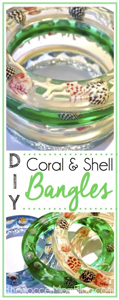 These DIY Coral and Shell Resin Bangles are a stunning and beautiful addition to your everyday jewelry collection!