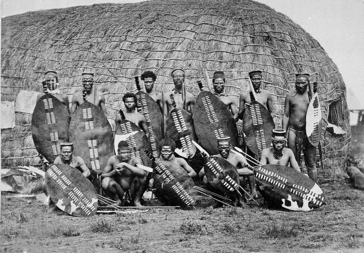 Zulu War, 1879 Zulu warriors with their assegai spears.  assagai is a pole weapon used for throwing or hurling, usually a light spear or javelin made of wood and pointed with iron.