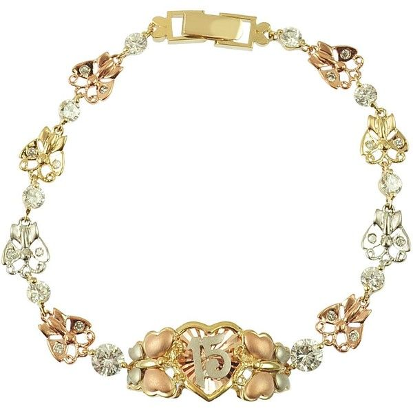 14k Tricolor Gold 15 Anos Quinceanera Butterfly Bracelet with Lab