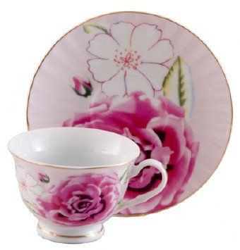 Pink Morning Porcelain Teacups Case Includes 24 Tea Cups