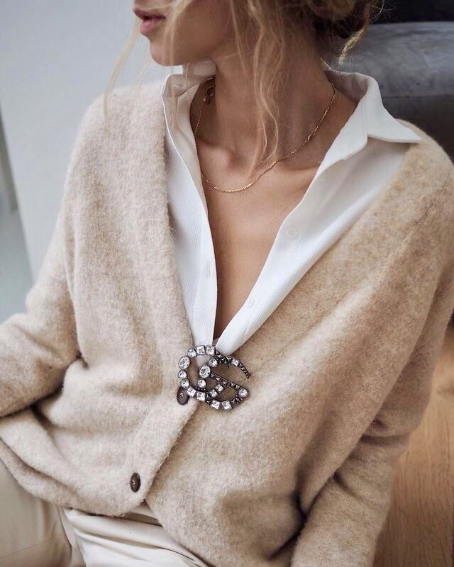 Blouse with cardigan and pin classic women's clothing …