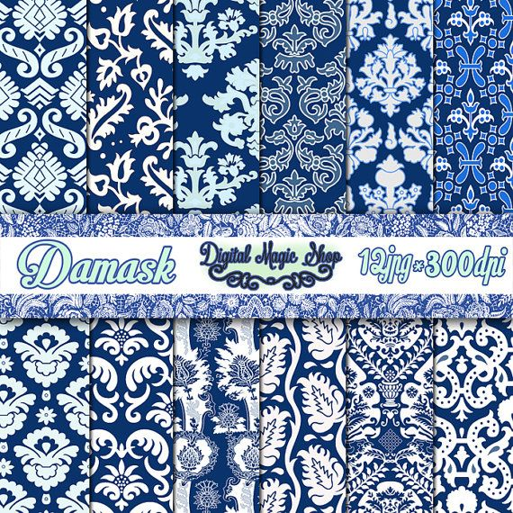 Digital Paper Pack 12 Navy Blue Damask igital Papers Pack paper by DigitalMagicShop, $2.50