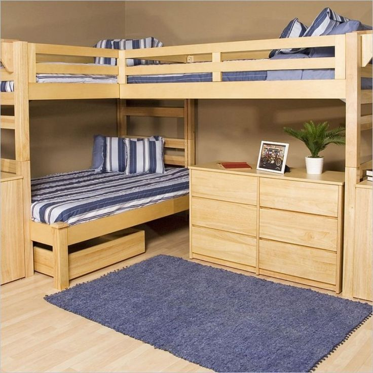 Kids Room Masculine Royal Blue Fur Rug Also Striped Bedding Set Plus Cool Wooden Bunk Bed Design For Interesting Kid