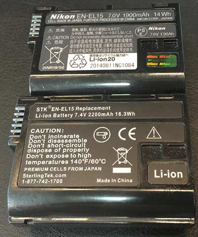 Notice the expensive Nikon battery is 1900mAh, 7V, 14Wh.  The cheap battery is 7.4V, 2200mAh, 14Wh.  I have used third-party batteries for YEARS and have never had an issue.  They are cheaper and last longer in my experience.