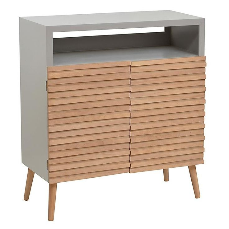 WOODEN CABINET IN GREY/BEIGE COLOR 80Χ38Χ89 - Showcases - Closets - FURNITURE