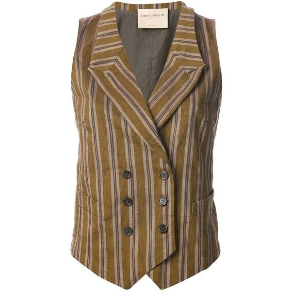 ERIKA CAVALLINI SEMI COUTURE striped waistcoat ($145) ❤ liked on Polyvore featuring outerwear, vests, blazers, waistcoat, stripe blazer, sleeveless vest, double breasted waistcoat, blazer jacket и double breasted blazer