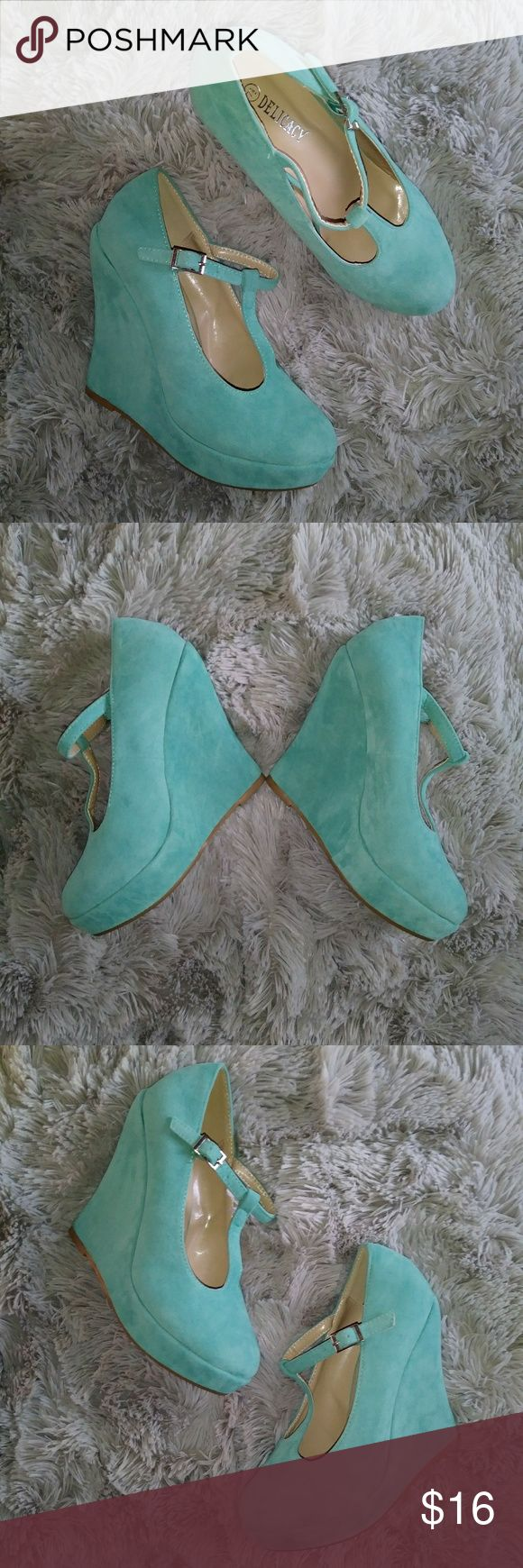 "Delicacy Mary Jane Mint Wedge Heels New condition Suede material Size: 7"" 1/2 Height: 5""   Bundle your likes and receive a 10% discount. Delicacy Shoes"
