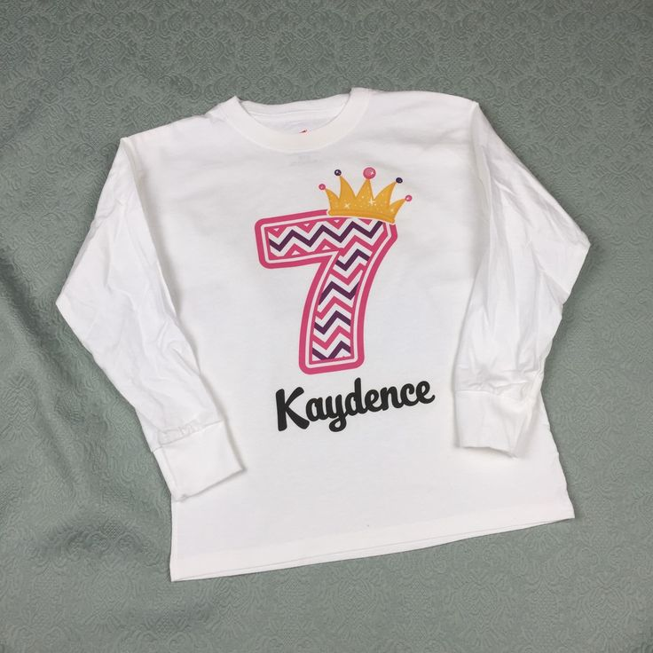 Seventh Birthday Shirt Pink Chevron 7 Any Age Personalized Girls And Name Tee For Kids 10302014c