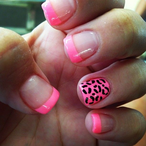I really love these. Pink tips with pink cheetah.