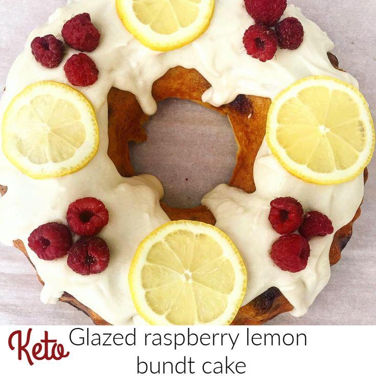 Keto glazed raspberry lemon bundt cake with images