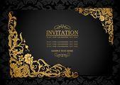 Абстрактний фон з антикварних, розкішний чорний і золотистий vintage кадру, вікторіанської банер, дамаської квітковими шпалерами орнаменти, запрошення, стилі бароко буклет, мода модель, шаблон дизайну — стоковий вектор