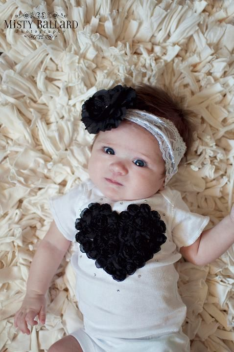 "Newborn Set Black  White Take Me Home Set from our ""Baby Love"" collection..Rhinestones, roses"