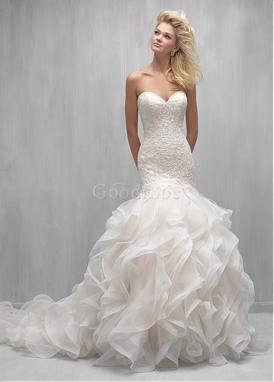 Robe de mariée sirène organza dentelle de col en cœur - photo 1