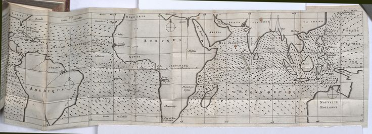 Edmund Halley's 1686 map of the world, which charts the directions of trade winds and monsoons and is considered the 1st meteorological map.