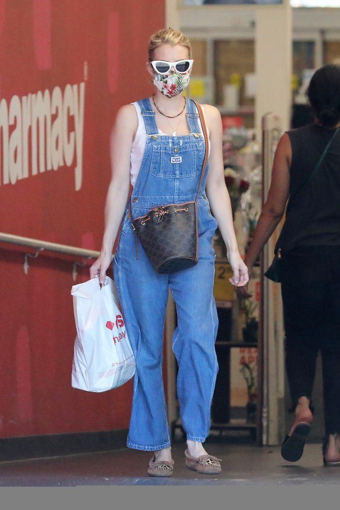 Emma Roberts Blued Denim Overalls In Los Angeles In 2020 Star Fashion Emma Roberts Denim Overalls